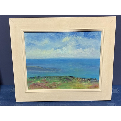 43 - A modern contemporary oil on canvas, Summer Headland, label verso, Jenny Smy, signed verso, 2008, ov...