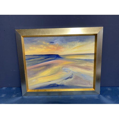 45 - Contemporary oil on canvas, Across the Dunes, signed verso, Jenny Smy 2002, titled Croyde Sunset, ov...