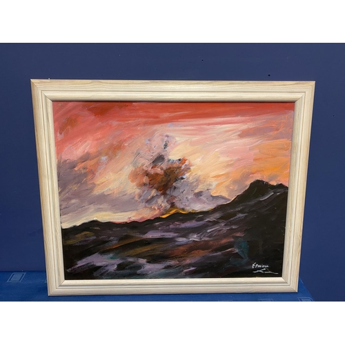 46 - Contemporary oil on canvas, Stormy sea, signed F Paarone?, overall size  47 x 58 cm , being sold for...