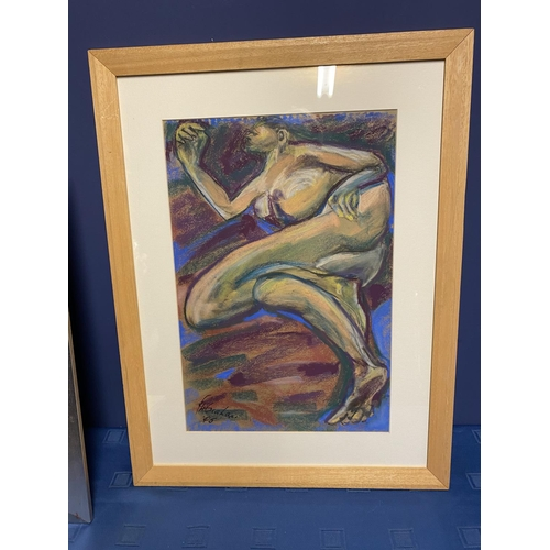 49 - Contemporary pastel, abstract figure, titled and signed verso,  Floating Dream , M H Graham 2005, ov...