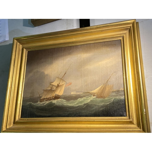 5 - C19th, oil on canvas, 2 sailing ships in a stormy sea, windmill in distance, indistinctly signed low...