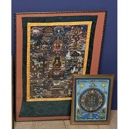 51 - Two C20th Tibetan Thankgas, the larger overall including frame 83 x 62 cm...