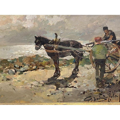 52 - C19th, Italian, Oil on wooden board, titled Cavallo Con Carretto (horse and cart) signed lower right...