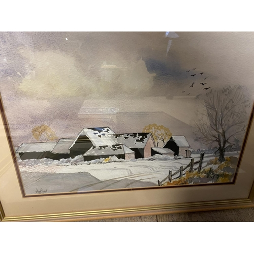 53 - Two modern watercolours, barns in downland landscape, and 9 other oils, watercolours and prints (10)...