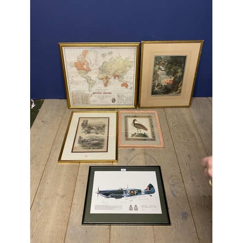 54 - Framed and glazed colour print of a spitfire, XVI bears numerous signatures, and 4 other prints