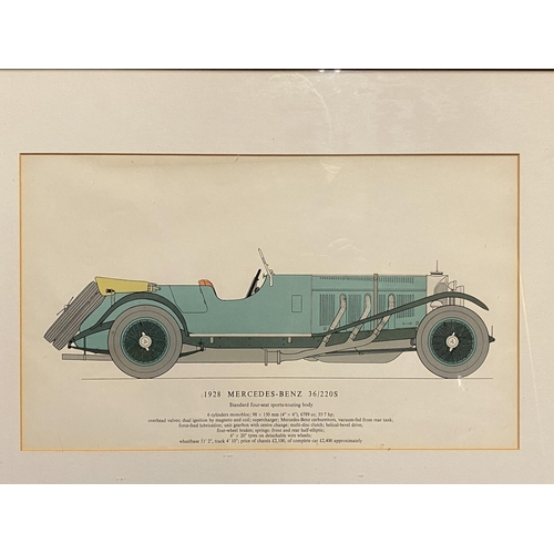 55 - Set of 4 framed and glazed vintage car colour drawings, Bentley, Aston Martin, Mercedes Benz, all wi...