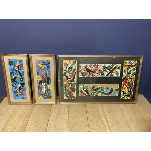 56 - Three framed and glazed mixed media on paper brightly coloured studies of birds, all signed, includi...
