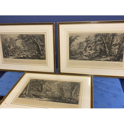 59 - Set of 3 framed and glazed black and white German classical hunting engravings, overall size includi...