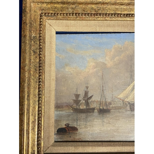 6 - JOHN CHRISTIAN SCHETKY (1778-874) Oil on board, The Odin Hulk and a Man of War, Portsmouth Harbour, ...