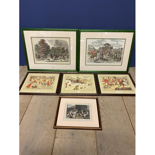 60 - Pair of framed and glazed coloured hunting prints, one after John Leech, the other After Herring - b...