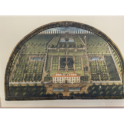 61 - Set of 3 framed and glazed coloured prints of formal Italian gardens, see images for names good cond...