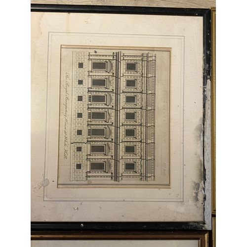 62 - 9 various architectural prints, including set of 3 vintage prints of tennis courts of London , colou...