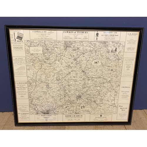 66 - Three maps: 1950s framed and glazed black and white map of The Duke of Beaufort Hunt Country and a O...