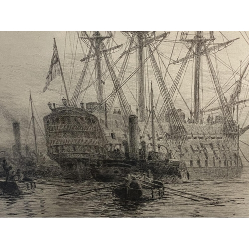 7 - William Wylie, (1851-1931-), etching, Man of War with tugs in harbour, signed in pencil lower left o...