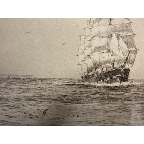 8 - Black and White etching on Paper, Sailing ship fully rigged at sea, 17 x 30cm , signed and titled in...