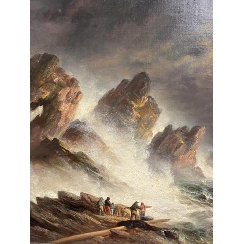 9 - C19th oil on canvas, figures on rocks within a stormy sea, 50 x 60cm