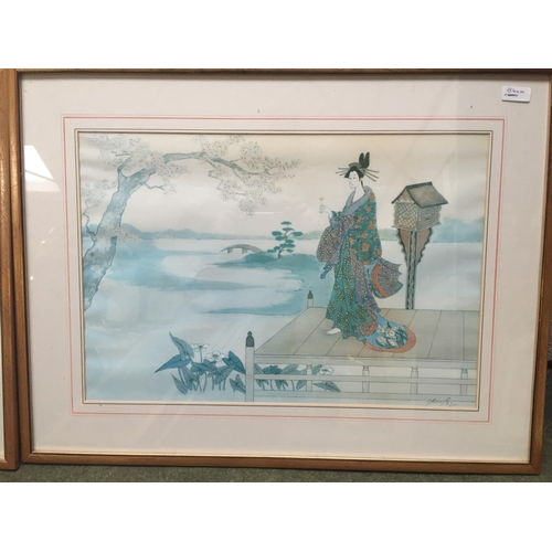 34 - A quantity of Japanese and Chinese coloured prints, including a set of 3...