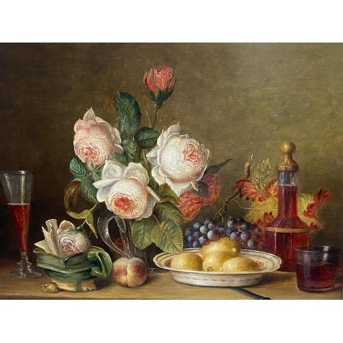 1 - C20th, oil on artist board, still life, flowers, fruit, decanter & glasses, indistinctly signed lowe...