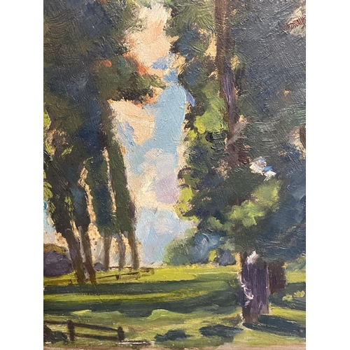 12 - HARRY RUTHERFORD, Oil on Board,  CAMDEN SCHOOL, C1930, Landscape with Trees, Potters Bar, inscribed ...