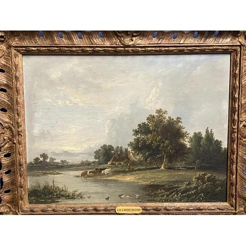 2 - HENRY JOHN BODDINGTON (1811-1865), oils on wood panels, pair, rural scenes with figures -