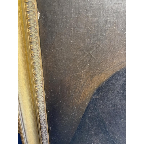 32 - Mid C19th, oil on wood panels, Pair of portraits, Gentleman and Lady, both 58 x 48.5, in gilt frames...