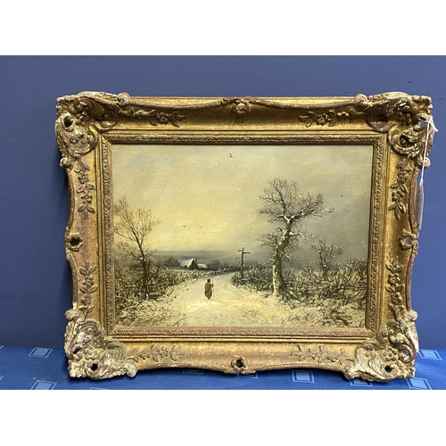 5 - Manner Barker of Bath, oil on canvas, winter scene, 32 x 43cm, in gilt frame. Condition: relined but...