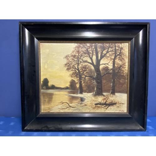 54 - Oil on Canvas, Winter Woodland Lake landscape, signed lower right O Breton 52 x 65 cm. black wood fr...
