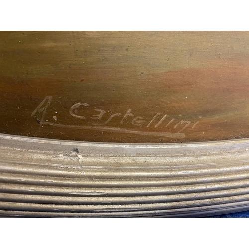 59 - Oval oil on wood panel,