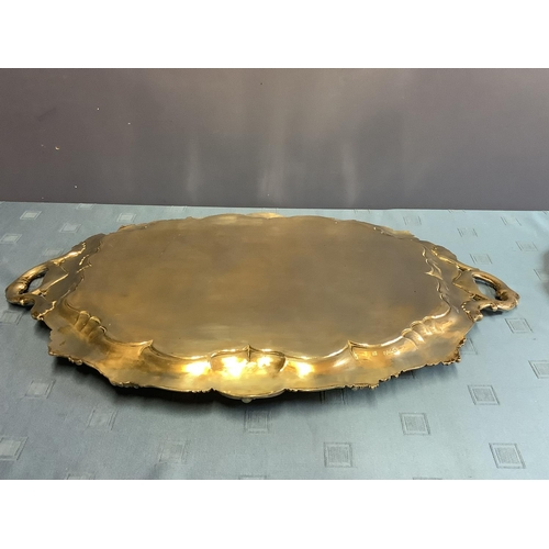 40 - Good heavy early Victorian Hallmarked Silver ornately embossed oval 2 handled tray, extensively engr...
