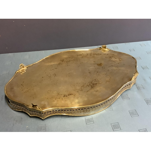 42 - Good quality heavy EPNS oval serpentine galleried silver plated tray 62cm L