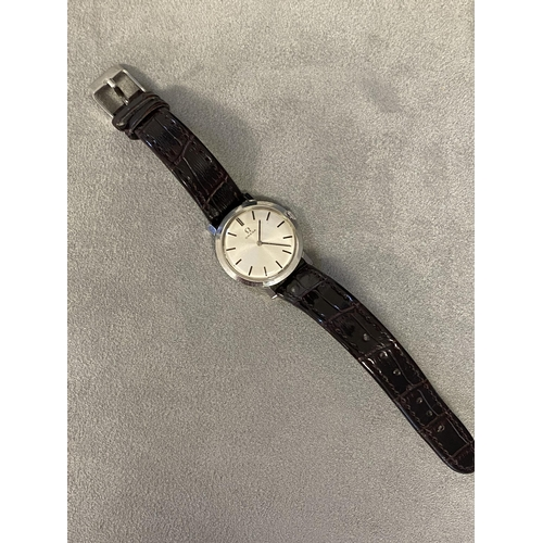 10 - Omega Seamaster gents watch, with leather strap, in case, original glass, no damage. General good co...