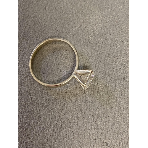 11 - Solitaire diamond ring, in original box (condition report: drilled and filled hence estimate - very ...