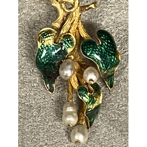 17 - C19th, Unmarked yellow metal diamond and enamel seed pearl brooch, green enamel leaves with rose cut...