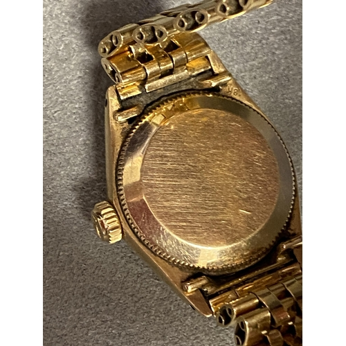 22 - ROLEX, ladies oyster perpetual date just, superlative chronometer, on a Rolex oyster 18ct gold brace...