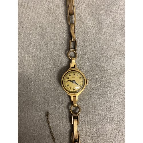47 - 9ct gold cased ladies cocktail watch, on a 9ct gold plated strap