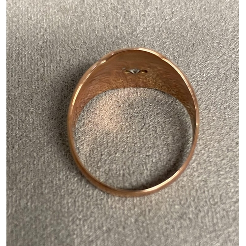 48 - 9ct rose gold gents signet ring, star set with small old cut diamond, 4.8g, size P