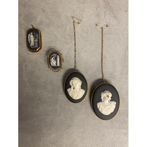 49 - 3 Wedgwood black basalt cameo brooches in  9ct open work mounts