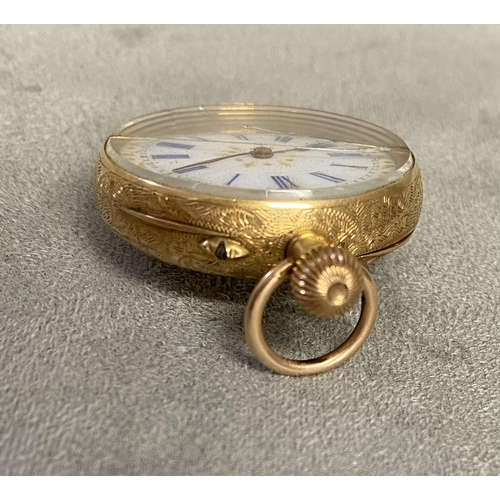 50 - 18ct gold cased ladies pocket watch, crown wind, with gilt and enamel face, small crack to glass, 32...