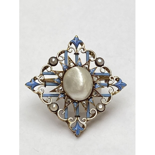 12 - Late C19th blister pearl diamond and enamel brooch, by Carlo Giuliano. Marked CG to oval cartouche, ...