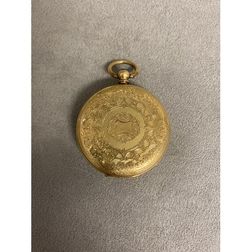 53 - 15ct gold cased key wind open faced gents pocket watch