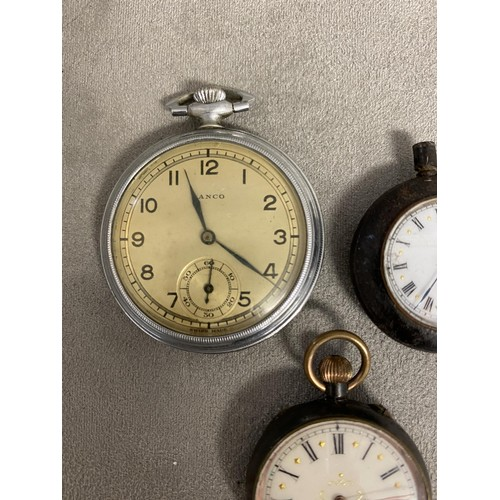 54 - Two silver ladies pocket watches and a  gents white metal example