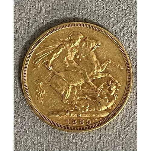 57 - 2 Victorian old head gold sovereigns, 1889, and 1894, each stamped with mint mark, M, verso, 16 gram...