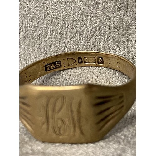 62 - Gents 9 ct gold signet ring, 4.5 g, size B