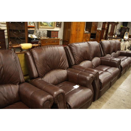 671 - BROWN LEATHER 4 PIECE SUITE...