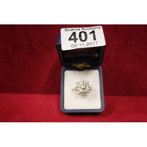 401 - 18CT GOLD DIAMOND CLUSTER (APPROX 1.3 CT DIAMONDS)...
