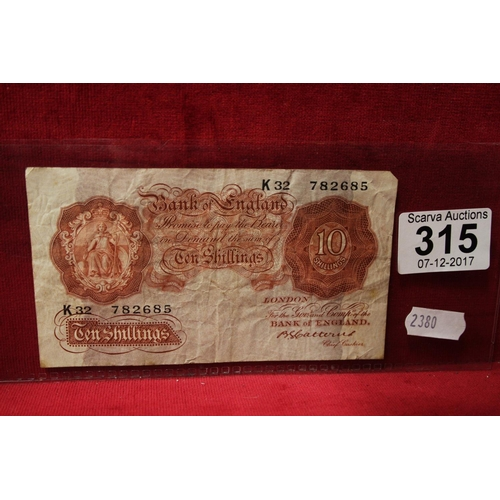 315 - BROWN 10 SHILLING NOTE...