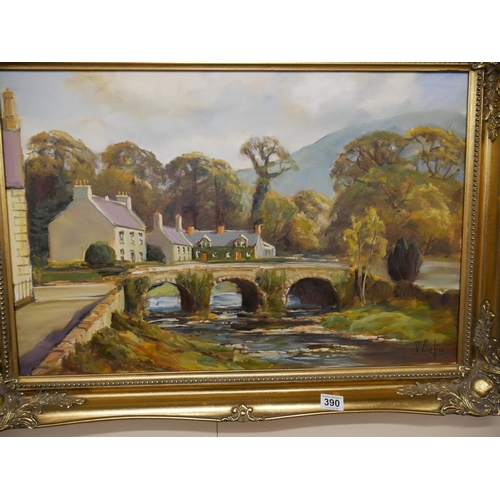 390 - VICTOR CIREFICE ROSTREVOR OIL PAINTING...