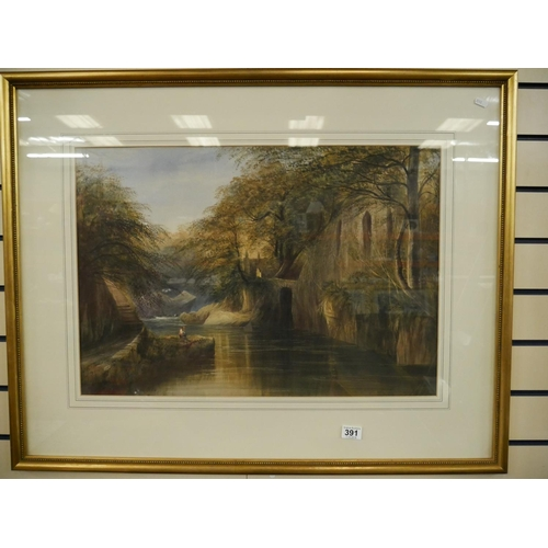 391 - ORIGINAL WATERCOLOUR ANDREW NICHOLL RHA - THE HERMITAGE TULLYMORE NEWCASTLE...