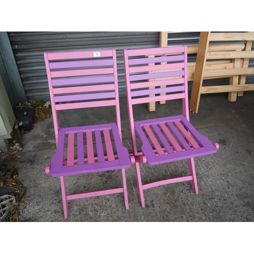 1 - 2 PAINTED DECK CHAIRS...