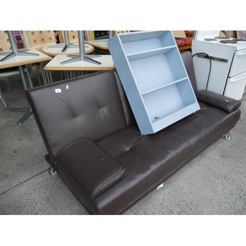 4 - LEATHER SETTEE & BOOKCASE...